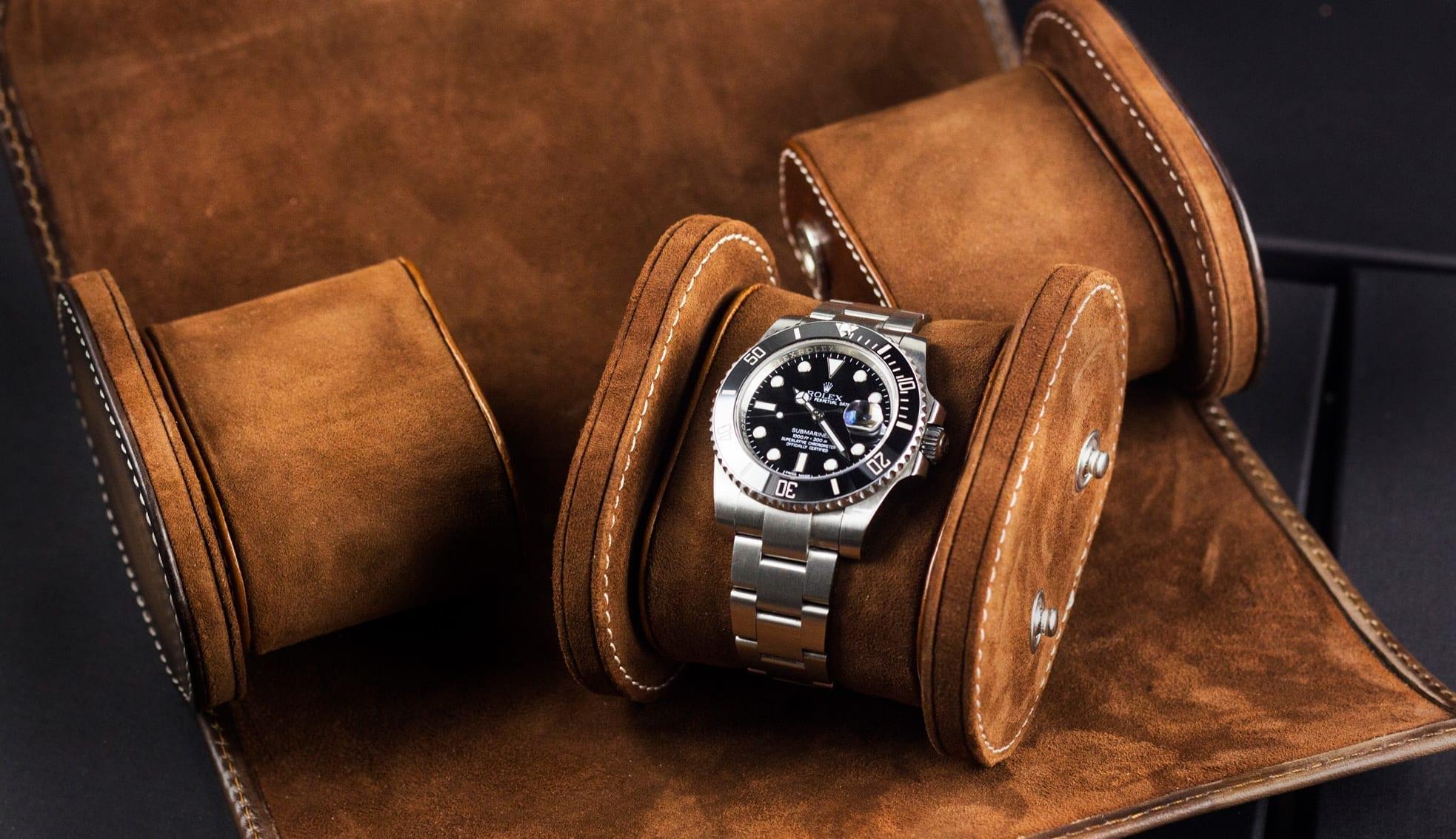 Uhrenrolle 3 Uhren Galata Montana hellbraun mit Uhr