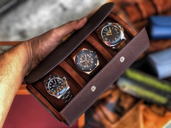 Uhrenrolle Galata Saffiano dunkelbraun 3 Uhren offen
