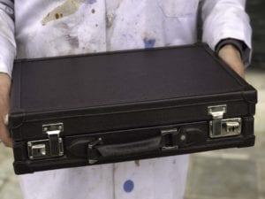 Uhrenkoffer aus Saffiano-Leder in dunkelbraun für 10 bis 15 Uhren