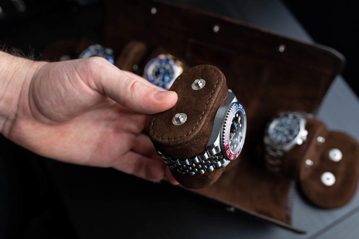 Uhrenrolle Leder 4 Uhren Aligatorleder einzelne Kissen