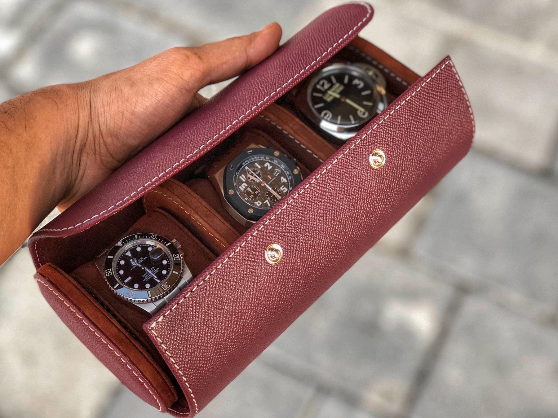 """Uhrenrolle aus Saffiano-Leder in """"Burgundy-rot"""" für 3 Uhren"""