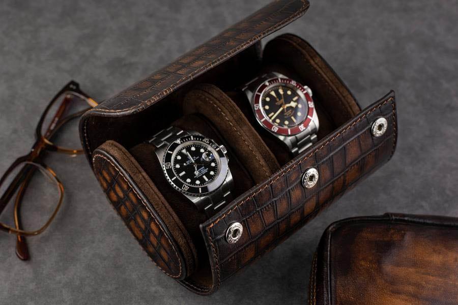 Uhrenrolle aus Leder in Aligator-Optik 2 Uhren