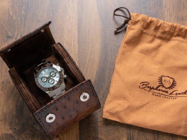 Uhrenrolle aus echtem Straussenleder mit Platin Daytona