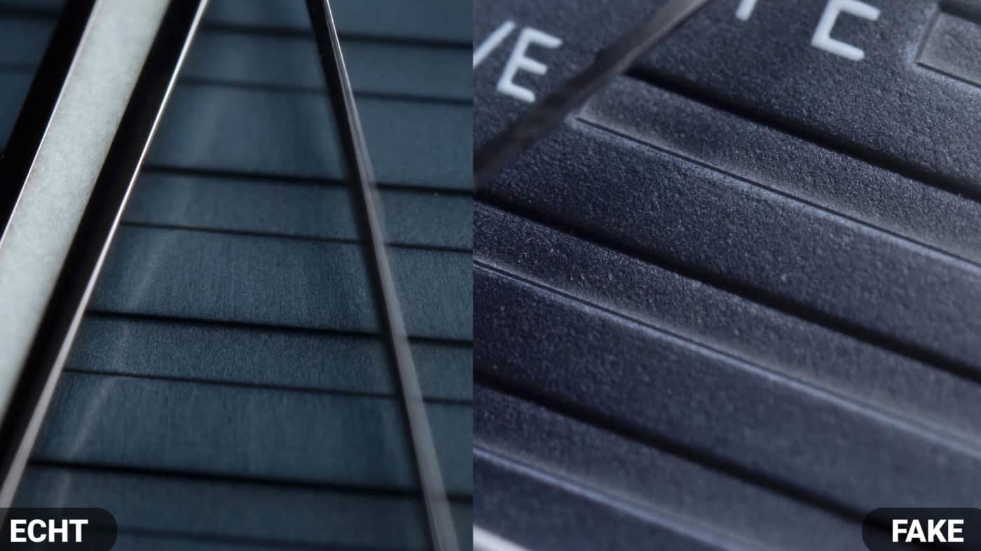 Vergleich Struktur Zifferblatt Patek Philippe Nautilus 5711 Fake VS Real