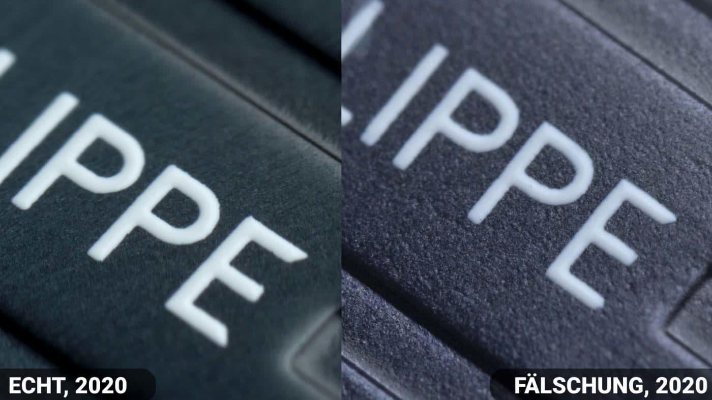 Vergleich Schrift Zifferblatt Patek philippe Nautilus 5711 fake vs Real 2020