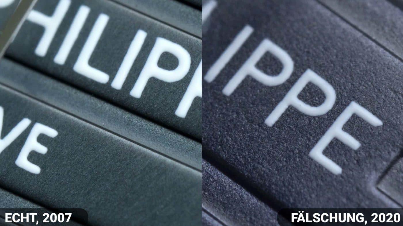 Vergleich Schrift Zifferblatt Patek philippe Nautilus 5711 fake vs Real