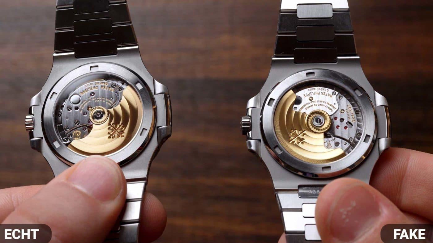 Uhrwerk Vergleich Patek Philippe Nautilus 5711 Real VS Fake